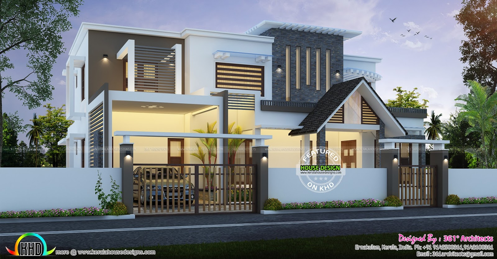 Contemporary And European Mix Home Kerala Home Design