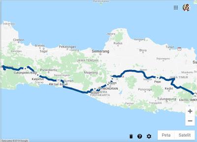 Rute perjalanan Tasikmalaya-Malang via tol Solo-Kertosono