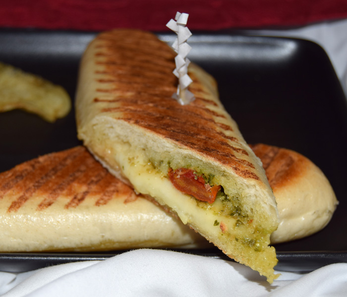 Mozzarella and pesto panini