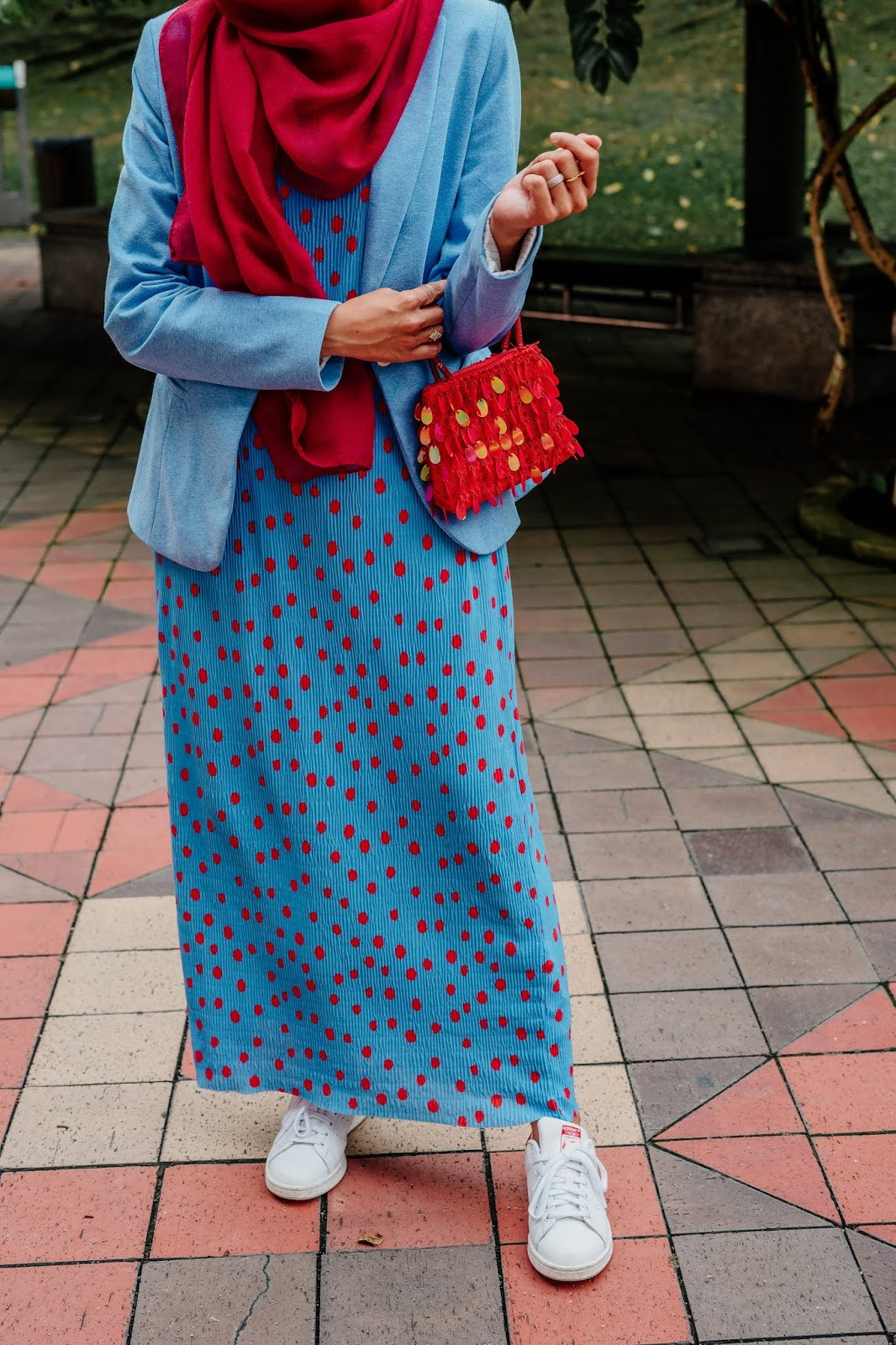 The Story Of The Red Beaded Bag Polka Dot Maxi Dress