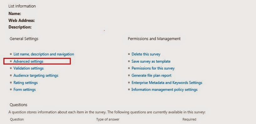 Setting Permission for Survey in SharePoint 2013