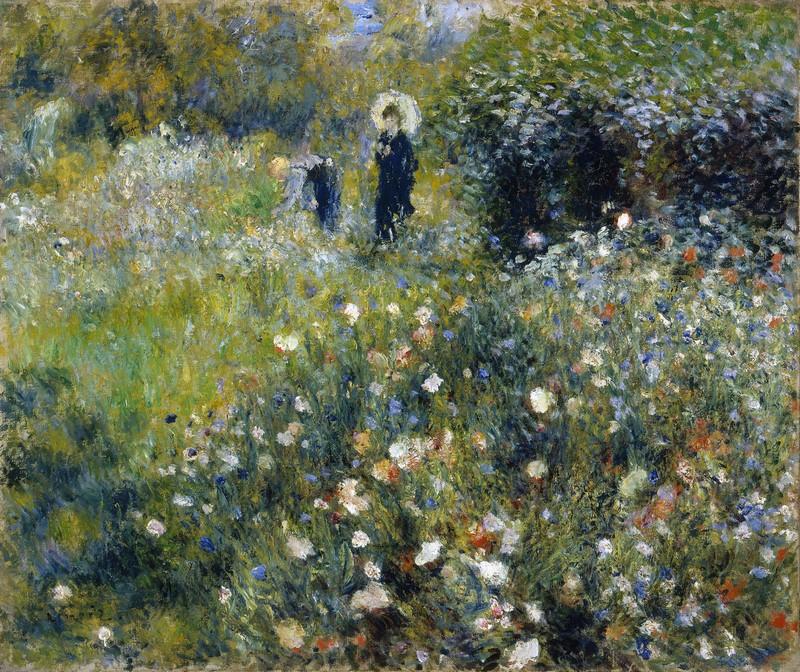 Pierre-Auguste Renoir Mujer con sombrilla en un jardín 1875
