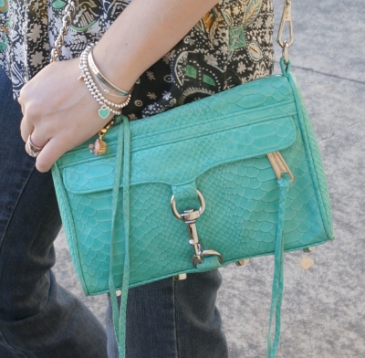 Away From Blue Rebecca Minkoff aquamarine mini MAC bag