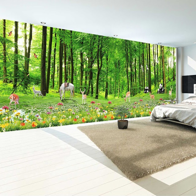 Nature Wall Murals Green Forest Trees Landscape