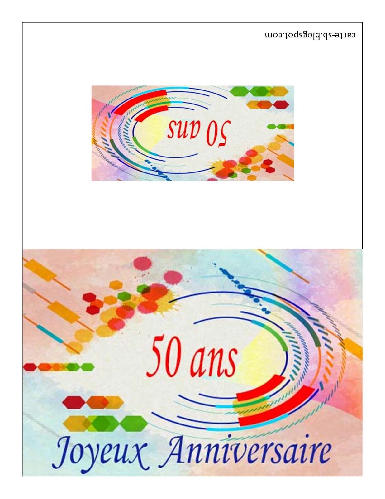 Carte Gratuite A Imprimer Carte Anniversaire 50 Ans A Imprimer