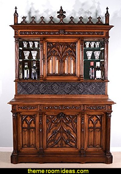 Gothic Revival Theme Antique French Bar and Back Bar