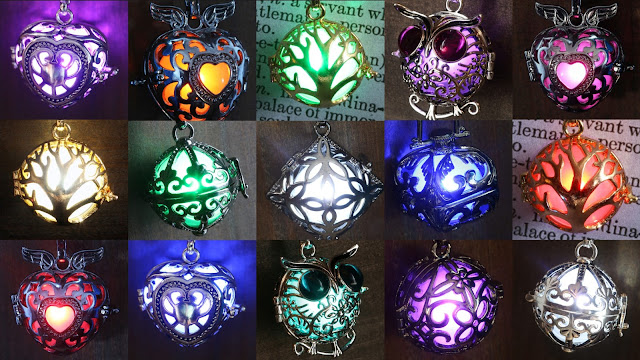 Glowing Pendant Glowing Locket Glowing Jewelry by CameoandJuliet