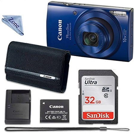 2. Canon PowerShot ELPH 190 Digital Camera (Blue) With 32GB Memory + CANO