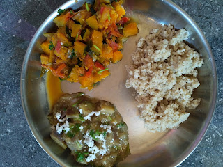 Barnyard millet (Kuthiraivaali) rice, Brinjal kootu, Pumpkin masala
