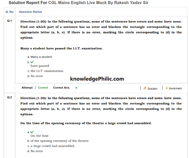 Rakesh Yadav Sir 1st Day SSC CGL Tier-2 Mock Test {English} Download Free