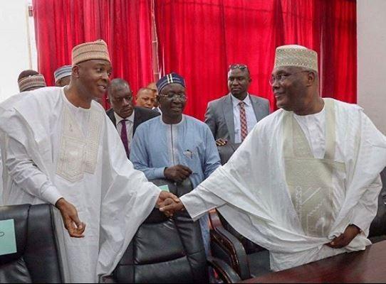 PDP Presidential candidates Bukola Saraki, and Alhaji Atiku Abubakar
