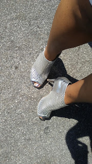 shoefie, new shoes, silver heels, booties