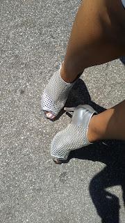shoefie, new shoes, silver heels, booties