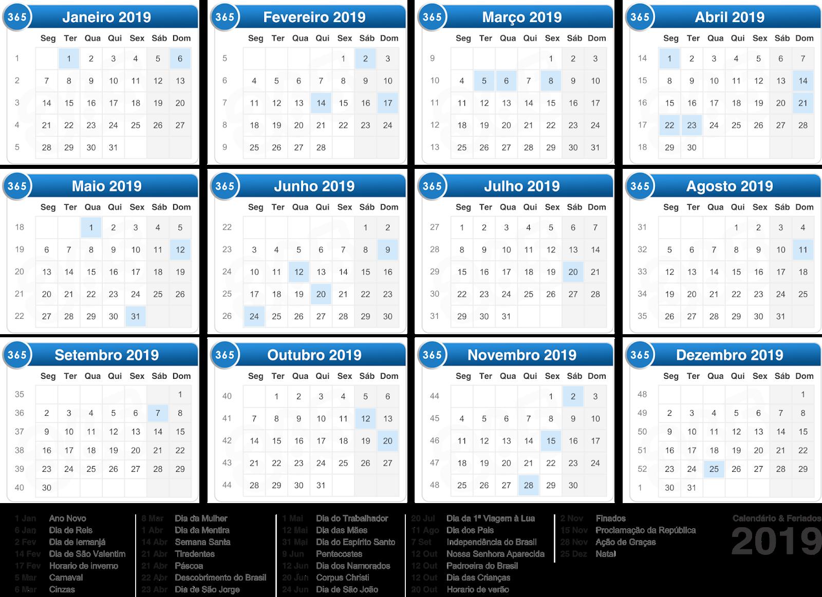 Calendário 2019 com feriados