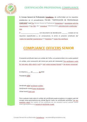Modelo de certificado profesional COmpliance Officiers