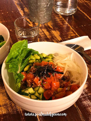 Salmon poke bowl dinner date @ In a bowl, Biru Biru Cafe