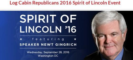 Newt Gingrich - Log Cabin Republicans 2016 Sprit of Lincoln Event