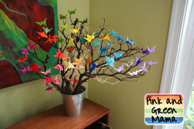 Pink And Green Mama Origami Paper Crane Wish Tree