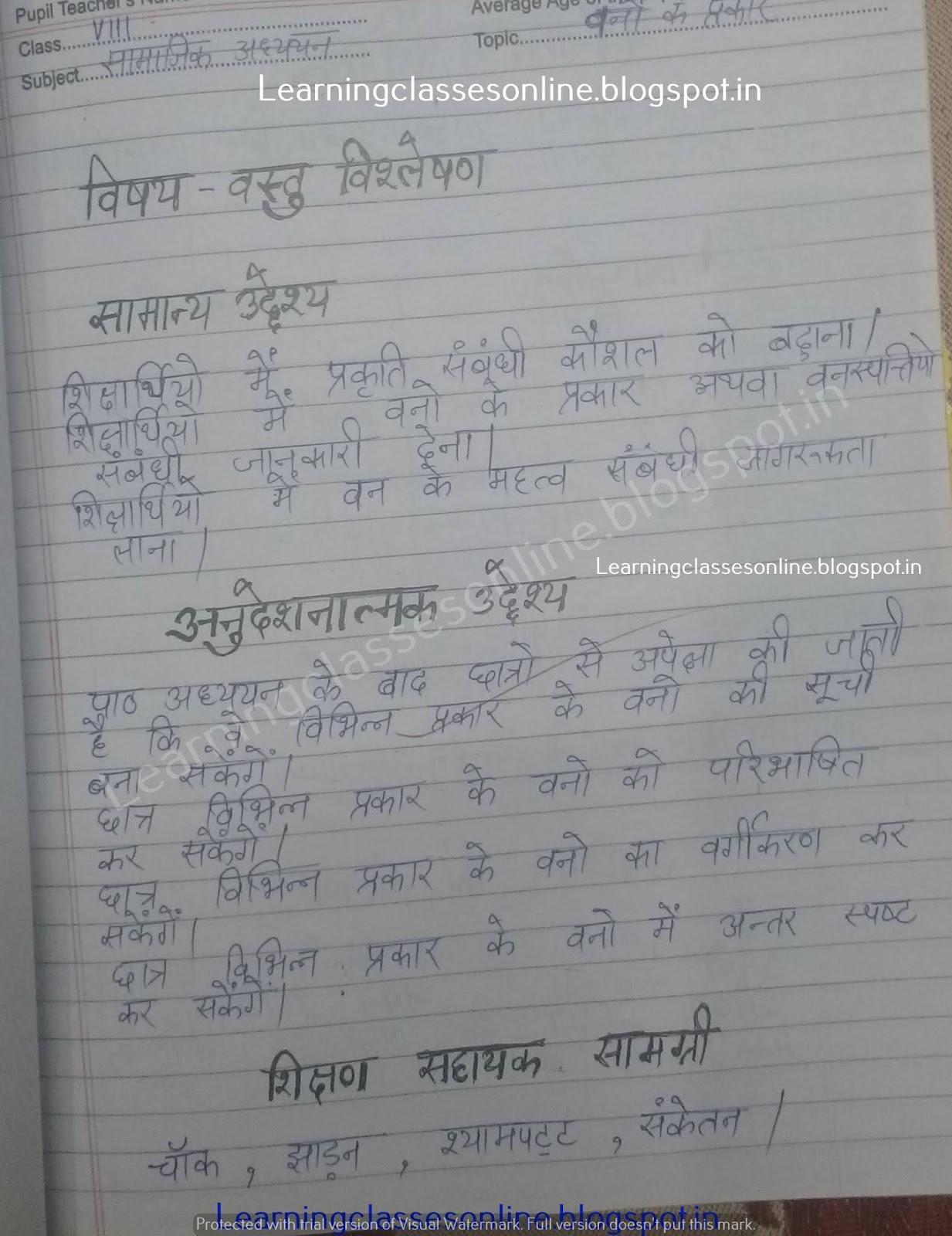 Social Science / Social Studies Lesson Plan  in Hindi on वनो के प्रकार