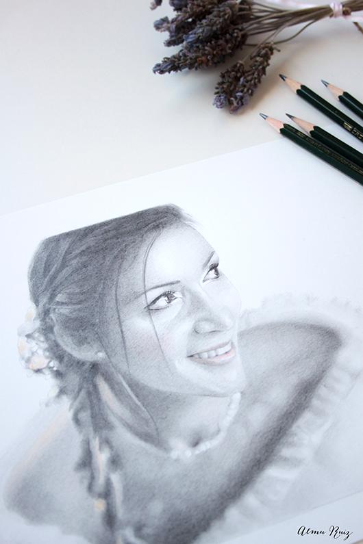 Retrato dibujado a lápiz de grafito