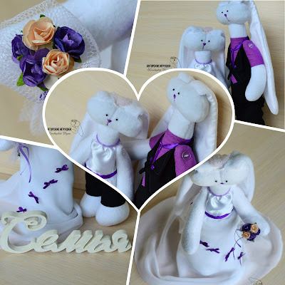 Подарок на свадьбу, свадебные зайчики, зайчики в сиреневом,  лиловая свадьба, зайчики из флиса, свадебный оригинальный  подарок, игрушки на заказ на свадьбу, зайцы на свадьбу, интересный подарок на свадьбу, подарок молодоженам,  игрушки на заказ киев
