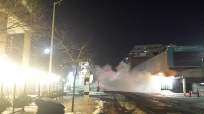 Steamy cold winter night on Front Street east of Yonge