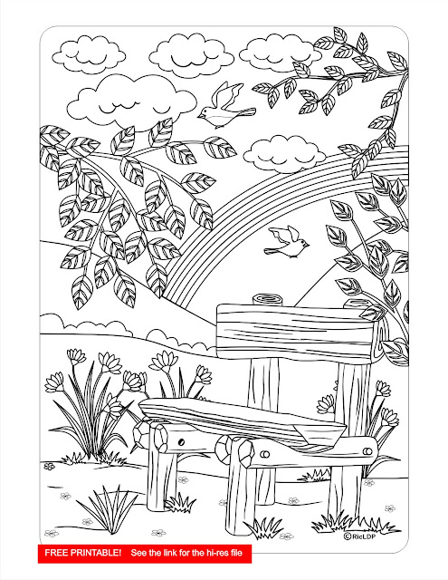 at the park coloring page, free printable, coloring for adults, free download