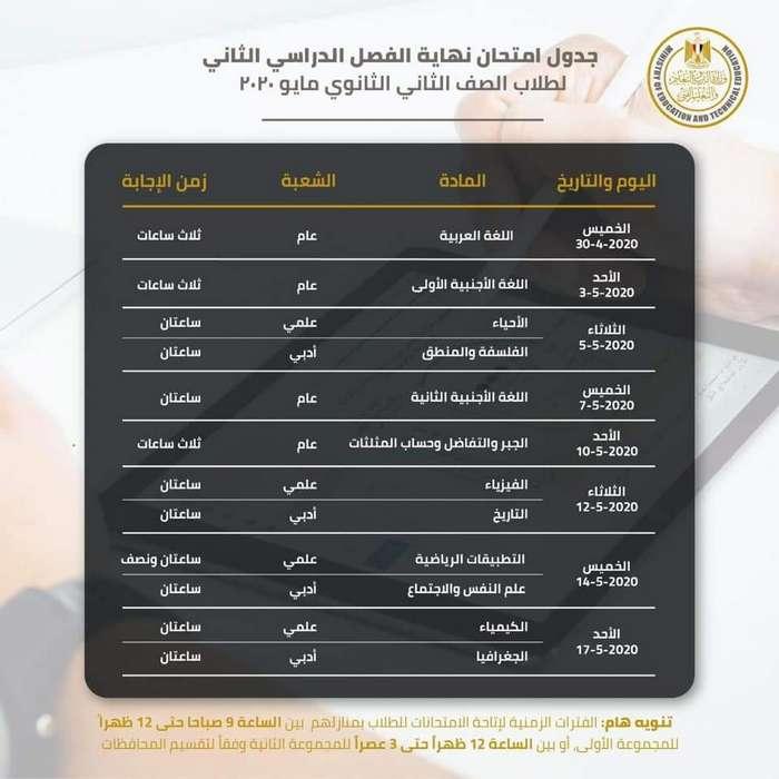 جدول الامتحان الالكترونى للصف الثانى الثانوي الترم الثاني مايو 2020