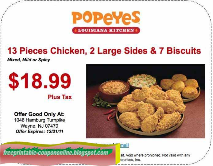 Popeyes coupons printable