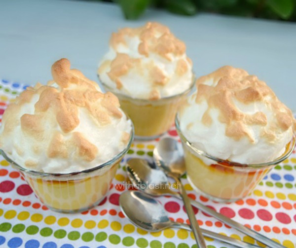 These old-fashioned Velvet Pudding cups are silky smooth with a delicious sweet layer between the pudding and the meringue ~ Quick to make and can be served at room temperature or warm