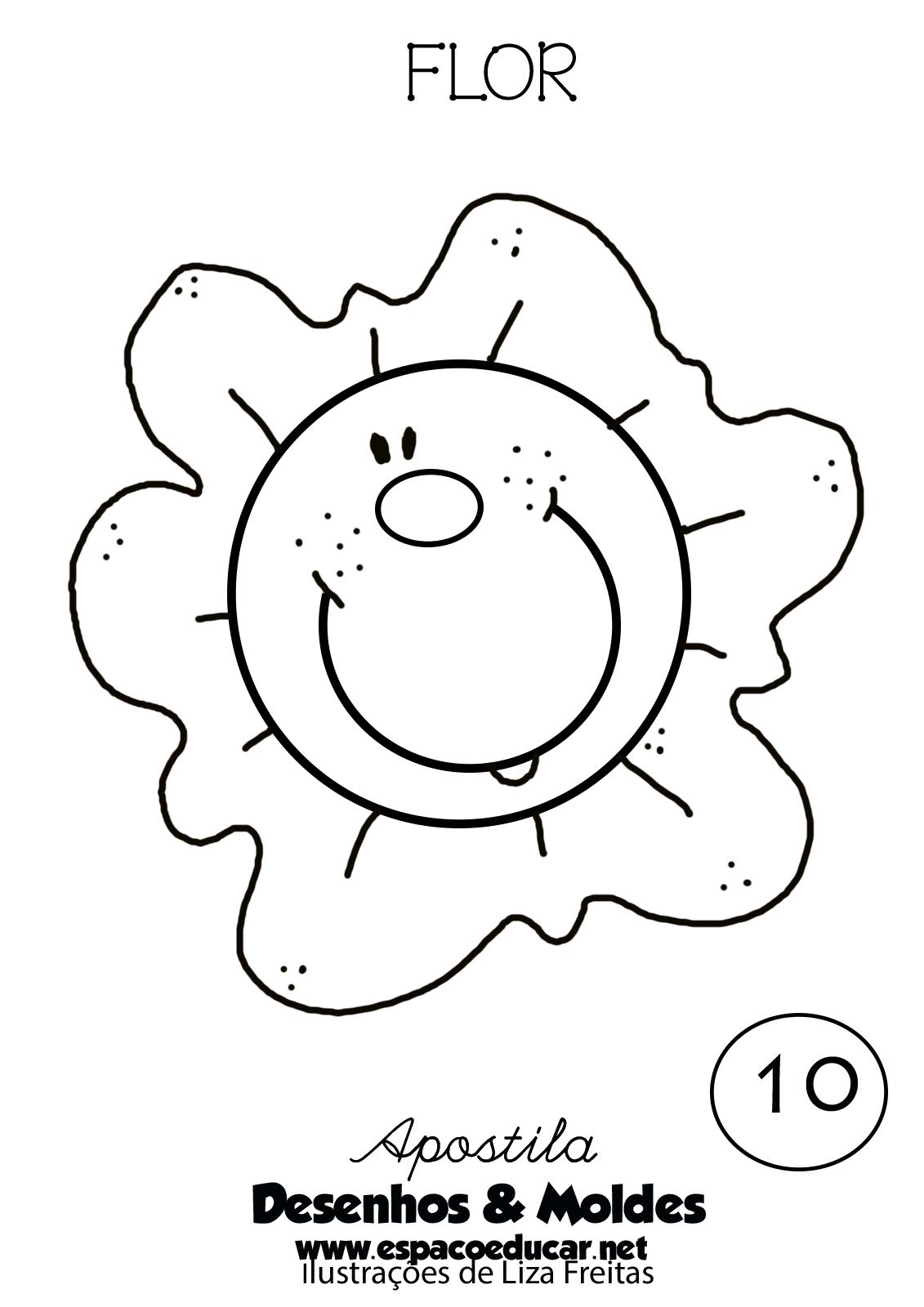 Molde De Flor Para Eva Feltro Primavera Colorir Imprimir