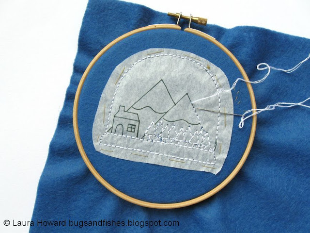 stitching a snow globe using a tissue paper pattern