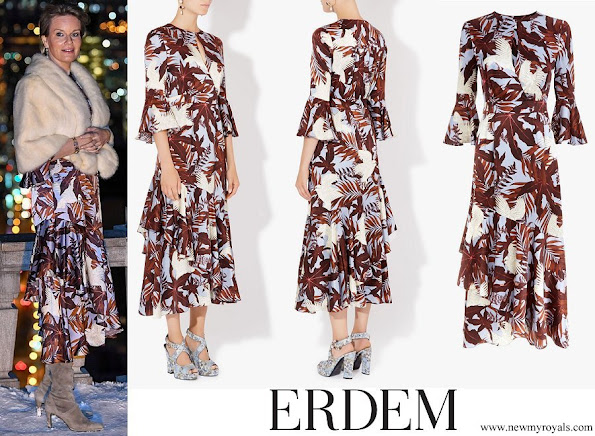 Queen Mathilde wore ERDEM Florence Dress Agar Bird