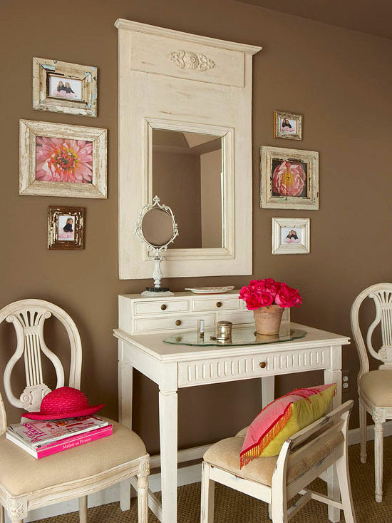 New home interior design bathroom makeup vanity ideas - Small space makeup vanity style ...