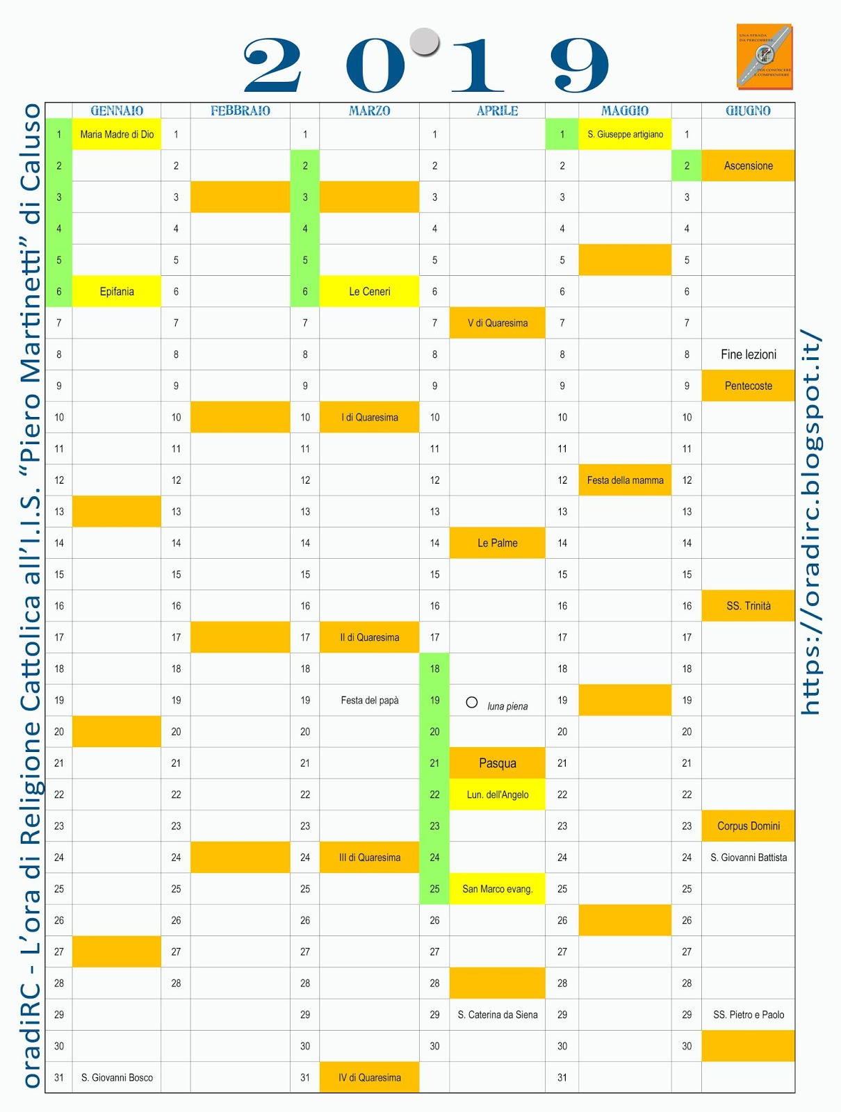 Calendario Cattolico.Oradirc L Ora Di Religione Cattolica Calendario 2019