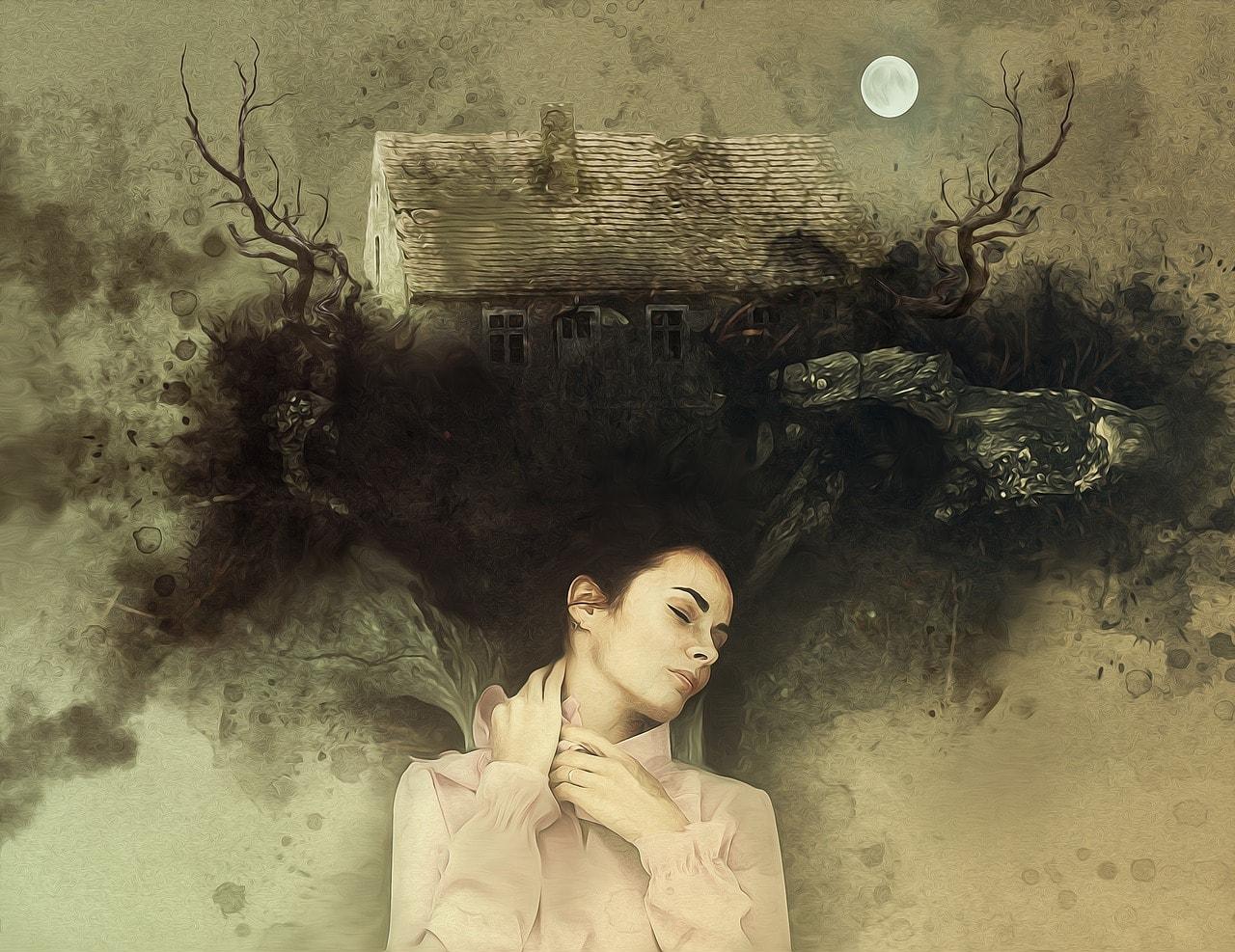 Ilustración de mujer pensando en vivienda maldita