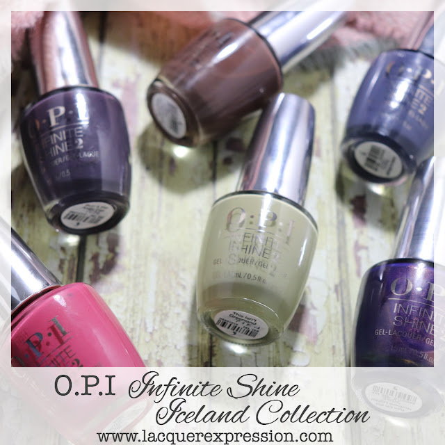 Swatches of OPI Infinite Shine nail polishes from the Iceland Collection for Fall and Winter 2017
