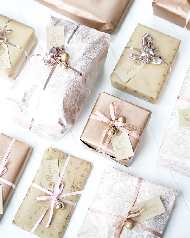 Christmas Gift Wrapping Pink and Rose Gold