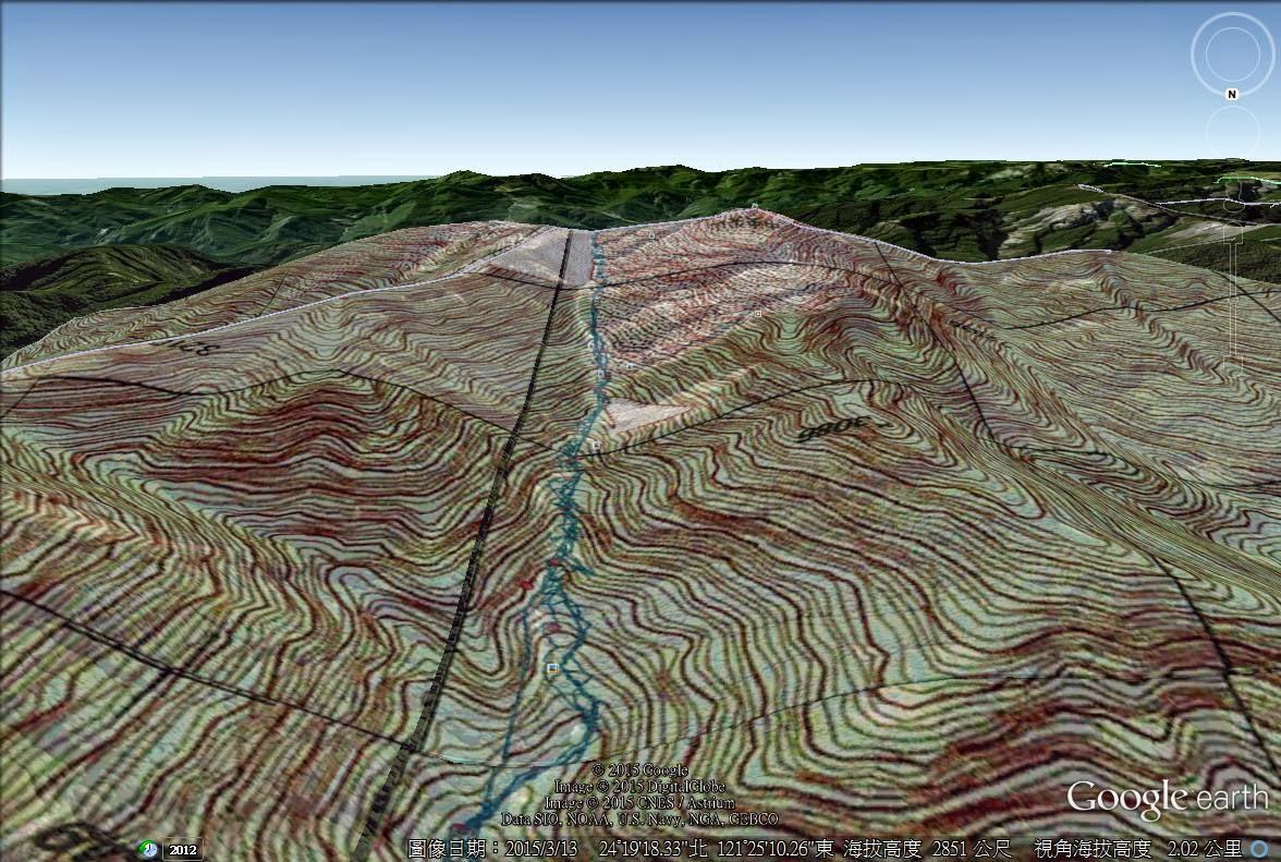 爬山的人-登山安全與技能: 用GOOGLE EARTH觀察等高線在現地的樣子