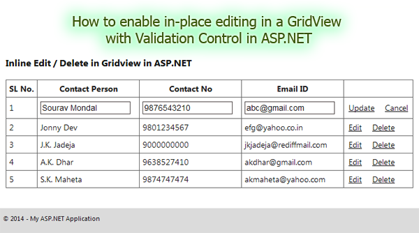 How to enable in-place editing with validation control in a GridView