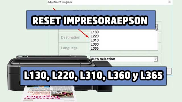 resetear almohadillas de la impresora EPSON L130, L220, L310, L360 y L365