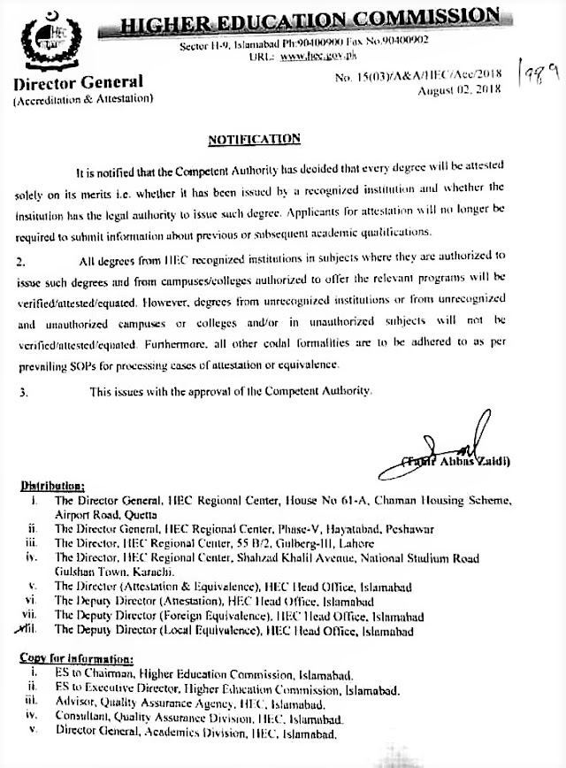 NOTIFICATION REGARDING ATTESTATION OF DEGREES BY HIGHER EDUCATION COMMISSION