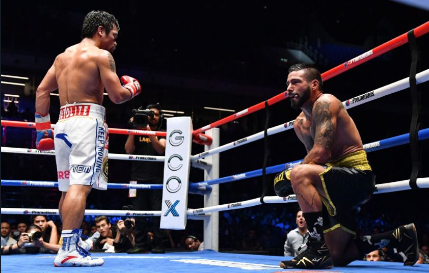 Pacquiao wins WBA Welterweight title with a 7th round KO of Matthysse