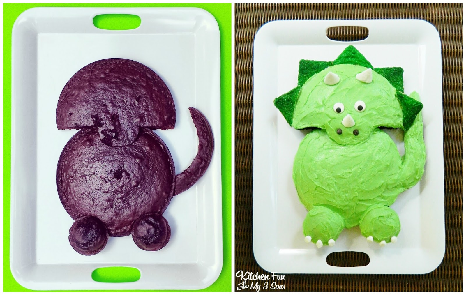 Kitchen fun with my 3 sons dinosaur party for my now 4 for How to make a dinosaur cake template