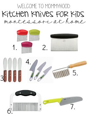 Montessori home: types of knives for teaching children how to cook #montessori, #montessorihome, #practicallife, #homeschool
