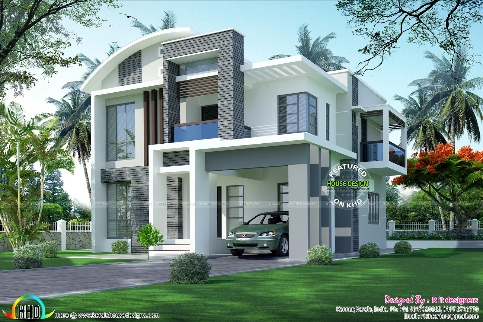 2264 square feet contemporary house kerala home design for Modern square house