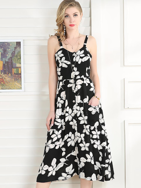 https://www.talever.com/black-and-white-floral-scoop-neck-elegant-maxi-dress-with-button.html