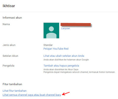Membuat chanel youtube baru