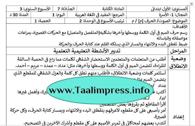 جذاذات الكتابة حرف الميم الأسبوع الثاني الوحدة الأولى مرجع المفيد في اللغة العربية للمستوى الأول