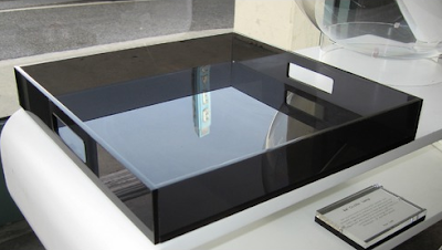 Lucite tray in smoky gray